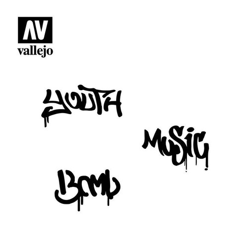 Vallejo Vallejo Stencils - Lettering and Signs Street Art Num 1