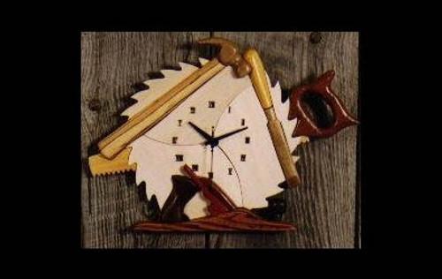 WOODWORKER CLOCK INTARSIA PATTERN