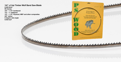 """1/4"""" x 8RK Series Timber Wolf® band saw blade"""