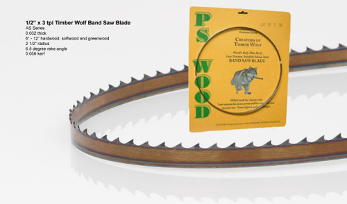 """1/2"""" x 3AS .032 thick Series Timber Wolf® band saw blade"""