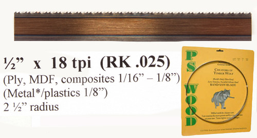 """1/2"""" x 18RK Series Timber Wolf® band saw blades"""