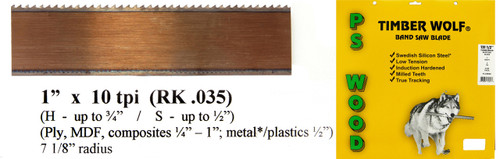 """1"""" x 10RK Series Timber Wolf® band saw blade"""