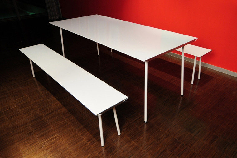 White Air Table with 2 Matching Benches