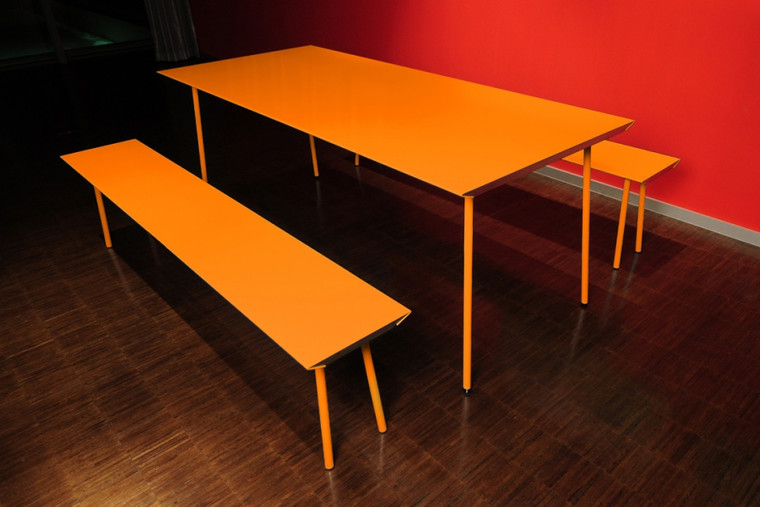 Orange air benches and air table