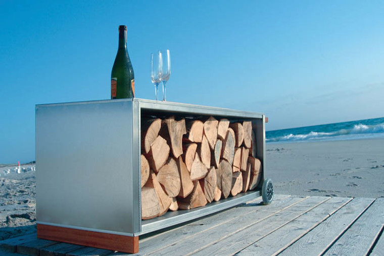 stainless steel, oiled oak Firewood Trolley