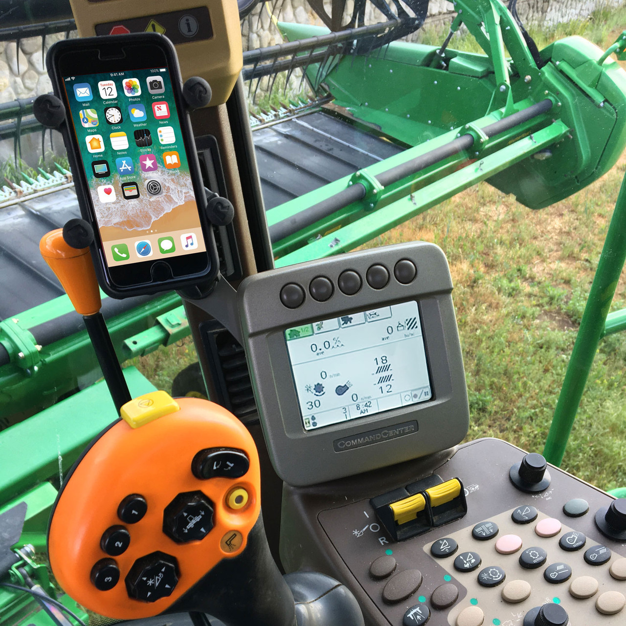 Sprayer or Tractor Easy to install Solid Phone holder for a John Deere Combine