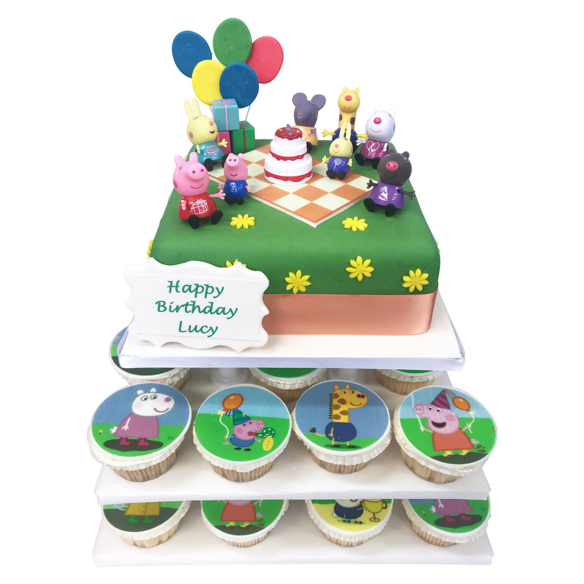 Amazing Peppa Pig Cake Tower Cupcake Towers The Brilliant Bakers Personalised Birthday Cards Paralily Jamesorg