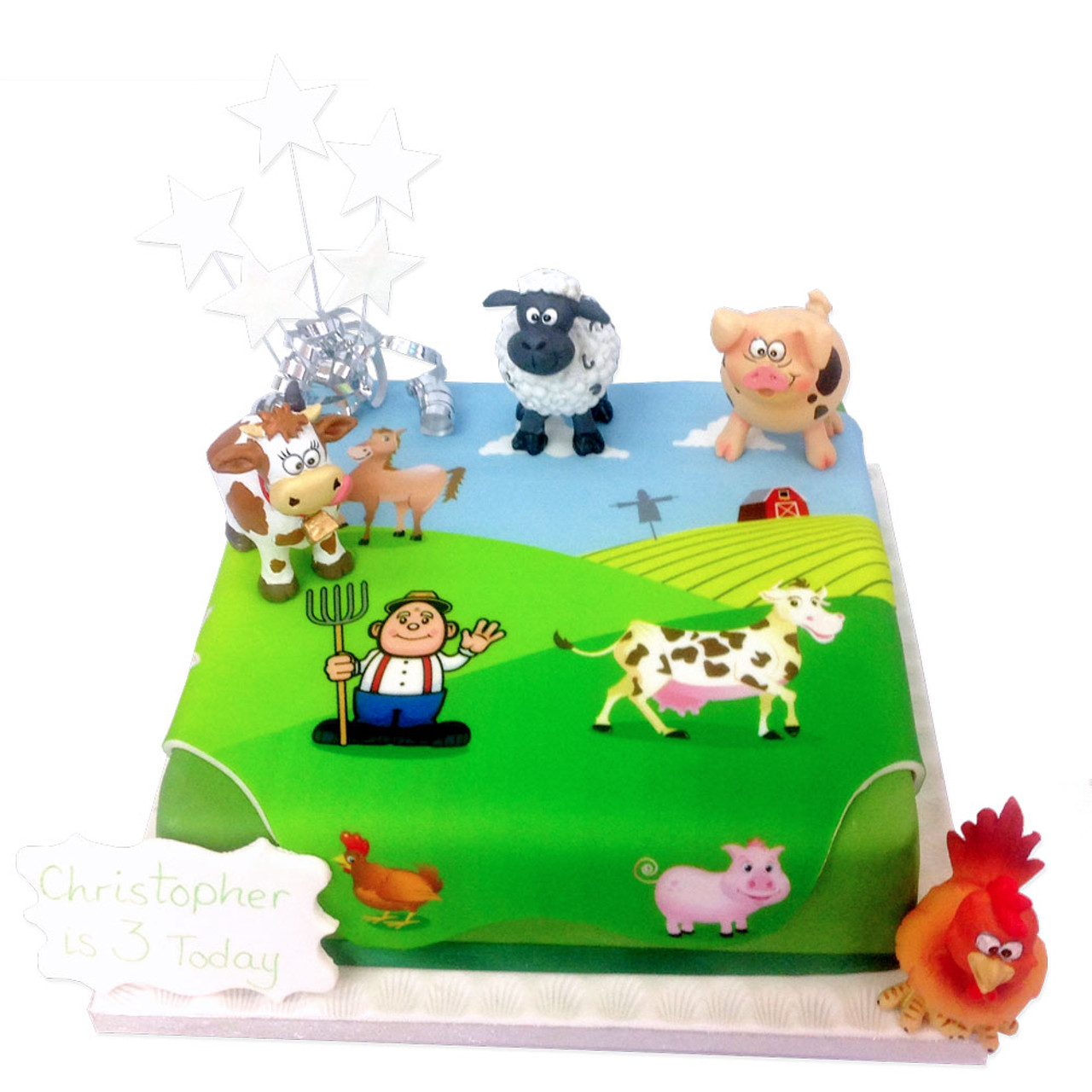 Strange On The Farm Birthday Cake Farmyard Birthday Cakes The Birthday Cards Printable Opercafe Filternl