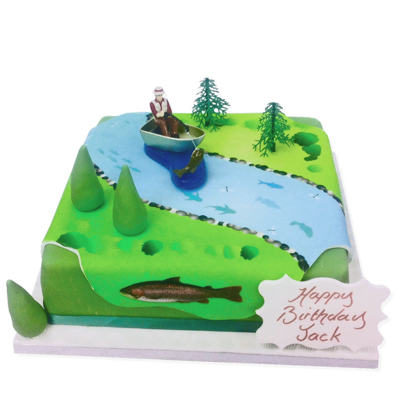 Miraculous Fishing Birthday Cake Birthday Cakes For Dad The Brilliant Bakers Personalised Birthday Cards Veneteletsinfo