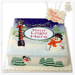 Snowman Greetings Cake
