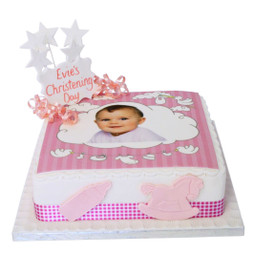 Baby Girl Christening Photo Cake