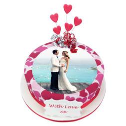 Hearts photo cake