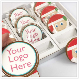 Box of 12 Round Christmas Logo Biscuits
