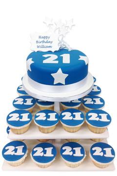 Birthday Blue Numbers Cake Tower
