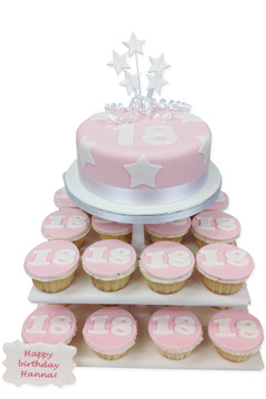 Birthday Pink Numbers Cake Tower