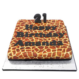 Giraffe Print Birthday Cake