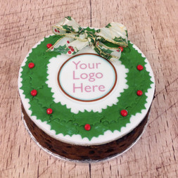 Christmas Wreath Logo Fruit Cake
