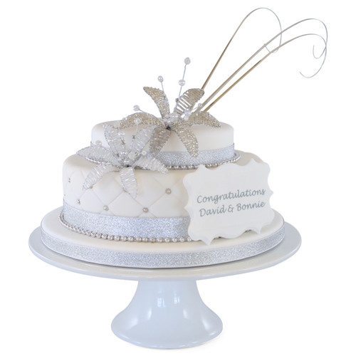 Crystal Flowers Two~Tier Cake