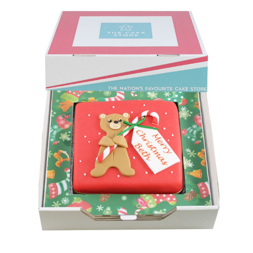 Teddy Candy Cane Gift Cake