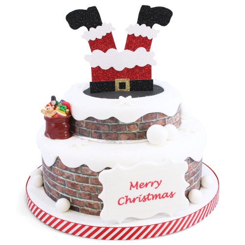 Santa Stuck in Chimney Two~Tier Cake