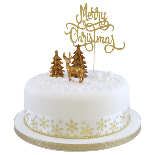 Golden Sparkle Christmas Cake