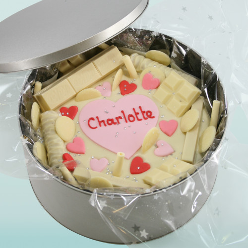 Hearts and White Chocolate Cake In-A-Tin