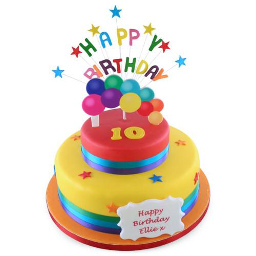 Happy Birthday Burst Two~Tier Cake