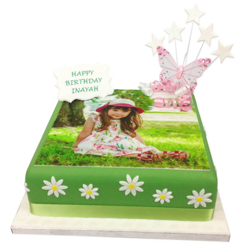 Daisies and Butterflies Photo Cake