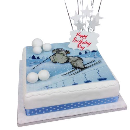 Skiing Birthday Cake