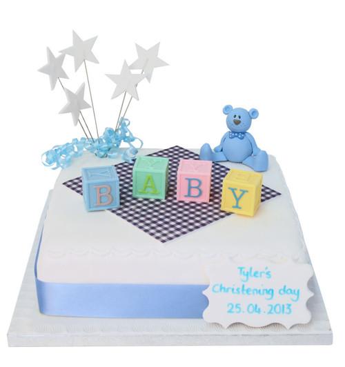 Letter Blocks Baby Cake (Blue)