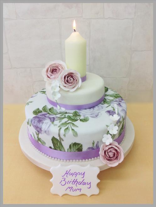 Candle Lit Garden Cake