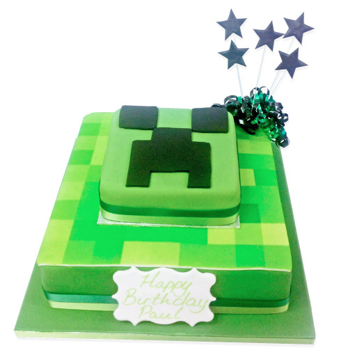 Minecraft Birthday Two~Tier Cake