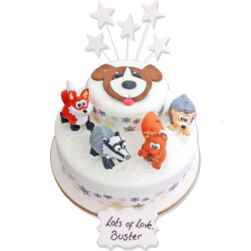 Winter Forest Friends Two~Tier Cake