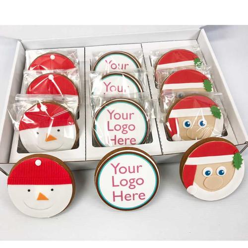12 Round Christmas Logo Cookies