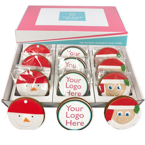 Box of 12 Round Christmas Logo Cookies