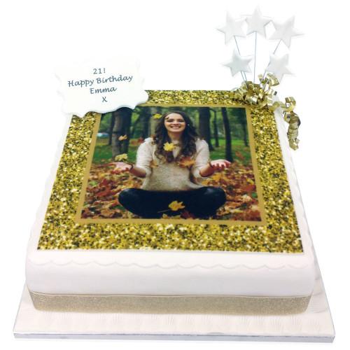 Gold Glitter Photo Frame Cake