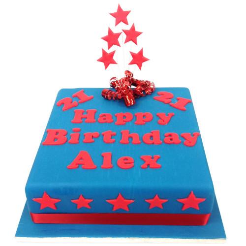 Personalised Birthday Cake with Stars