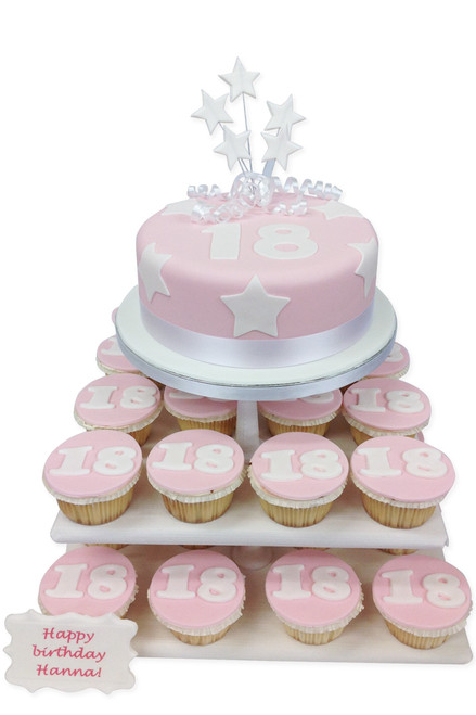 Birthday Pink Numbers Cake Tower