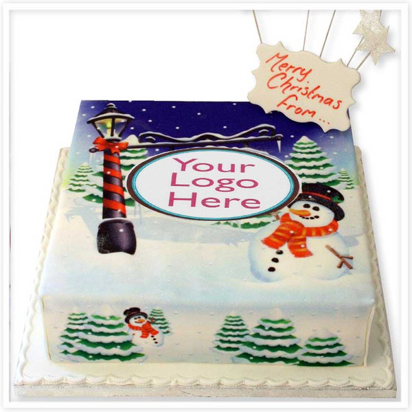 Snowman Greetings Cake
