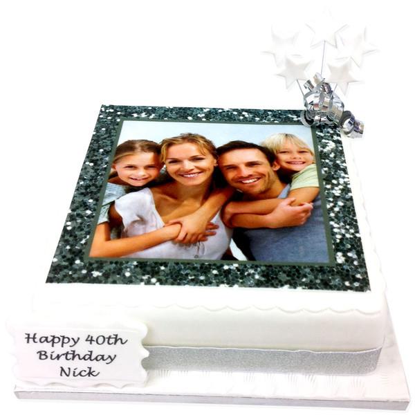 Silver Glitter Photo Frame Cake