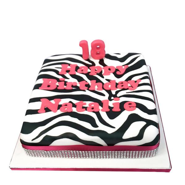 Marvelous Zebra Print Birthday Cake Childrens Birthday Cakes The Personalised Birthday Cards Veneteletsinfo