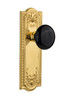 Nostalgic Warehouse Meadows Plate Double Dummy Black Porcelain Door Knob in Unlacquered Brass (NW-702781)