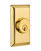 Nostalgic Warehouse Studio Plate Double Cylinder Deadbolt in Polished Brass (NW-713607)