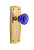 Nostalgic Warehouse Prairie Plate with Keyhole Privacy Crystal Cobalt Glass Door Knob in Unlacquered Brass (NW-725870)