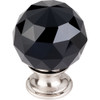 Top Knobs - Black Crystal Knob  w Brushed Satin Nickel Base (TKTK116BSN)