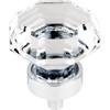 Top Knobs - Clear Octogan Crystal Knob  w Polished Chrome Base (TKTK128PC)