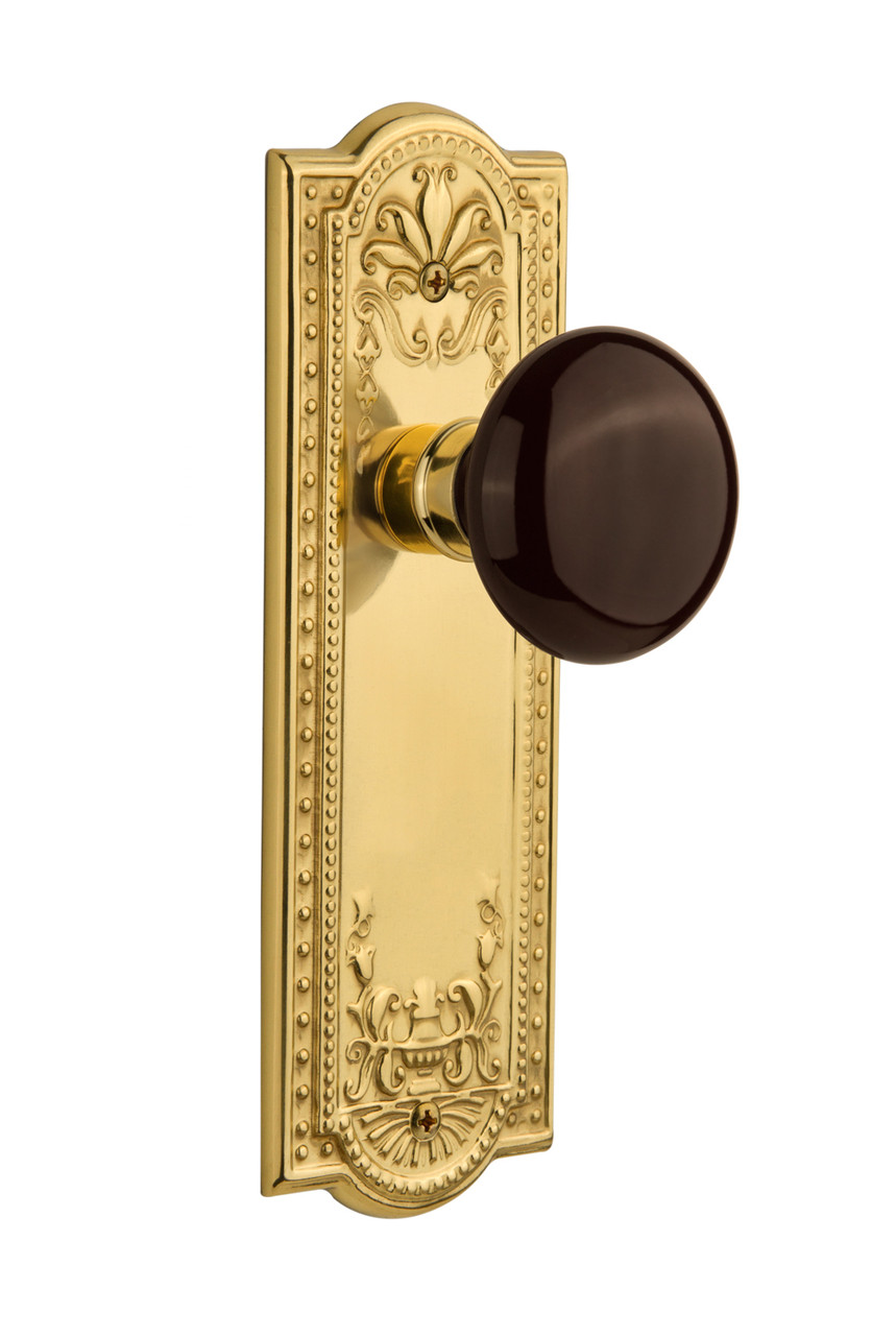 Nostalgic Warehouse Meadows Plate Double Dummy Brown Porcelain Door Knob in Unlacquered Brass (NW-702782)