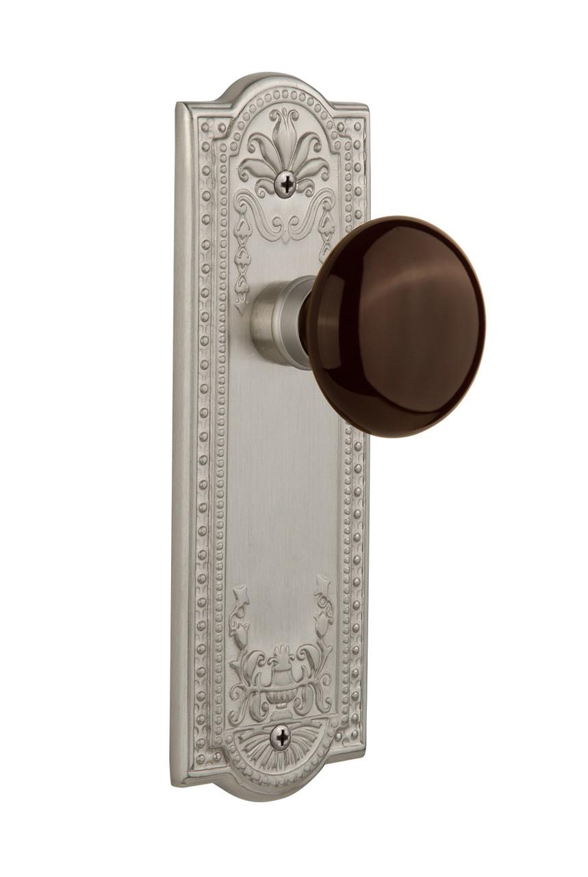 Nostalgic Warehouse Meadows Plate Double Dummy Brown Porcelain Door Knob in Satin Nickel (NW-710651)