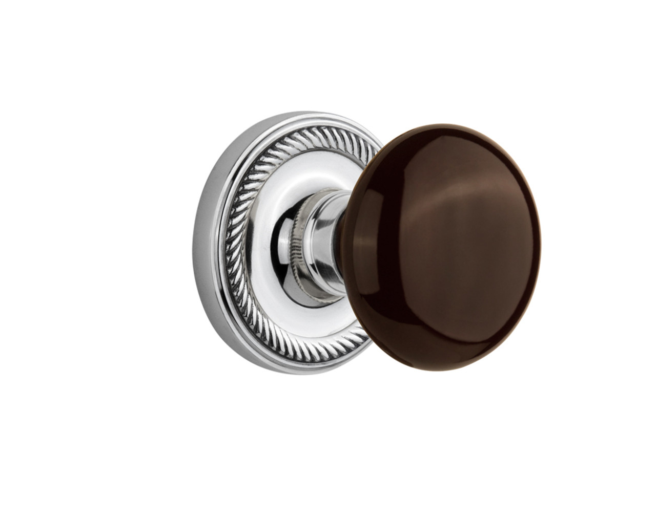 Nostalgic Warehouse Rope Rosette Double Dummy Brown Porcelain Door Knob in Bright Chrome (NW-710662)