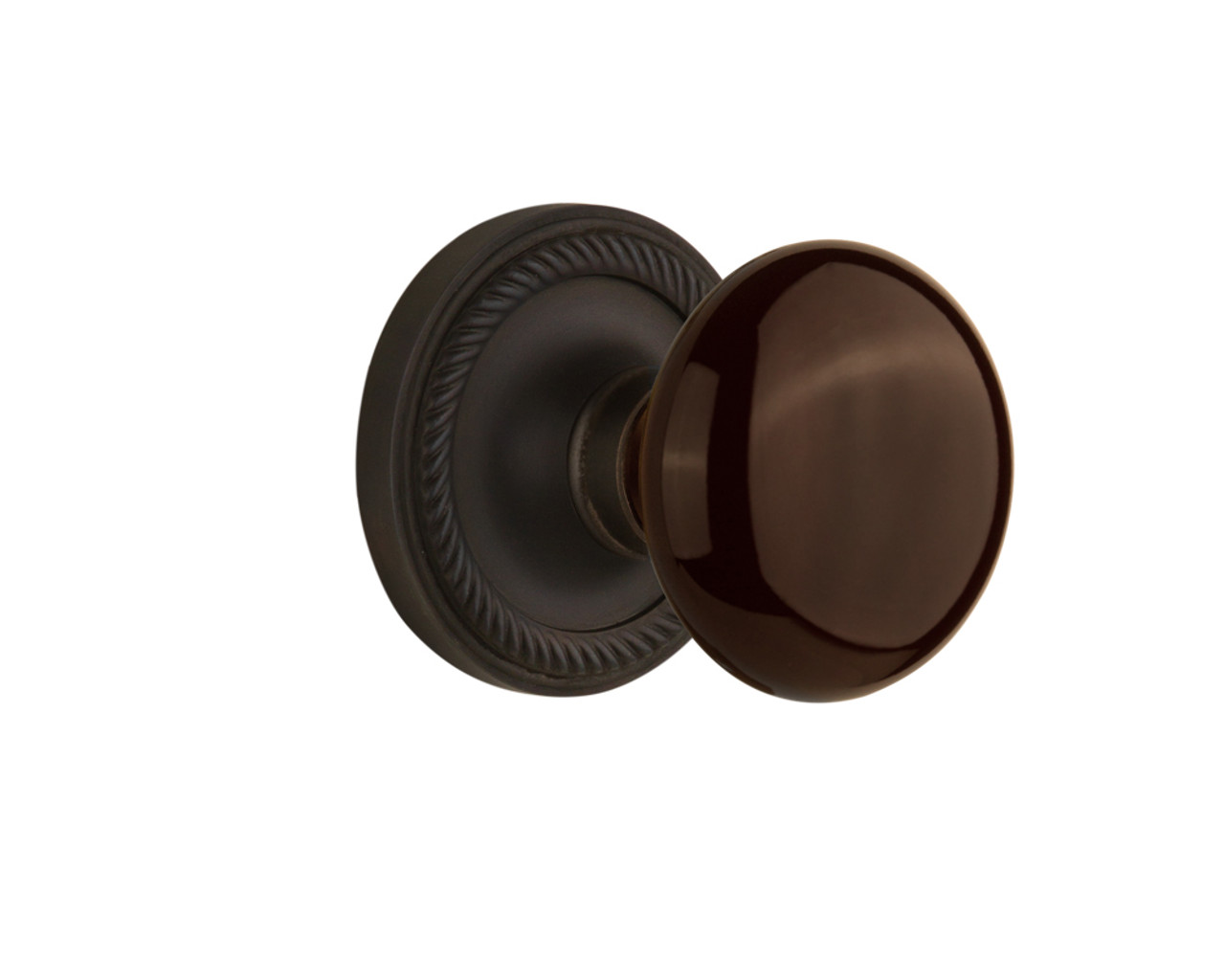 Nostalgic Warehouse Rope Rosette Double Dummy Brown Porcelain Door Knob in Oil-Rubbed Bronze (NW-710663)
